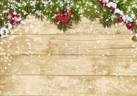 Christmas fir tree with snowfall