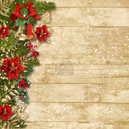 Photo pour Christmas beautiful garland with poinsettia and bell on a wooden board - image libre de droit