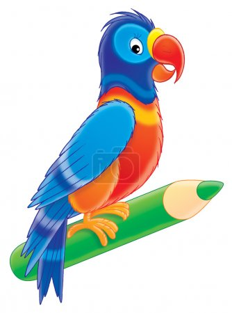 colorful parrot perched on a green colored pencil.
