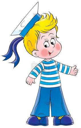 Photo pour Heureux garçon blond vêtu d'un costume de marin, sur un fond blanc . - image libre de droit