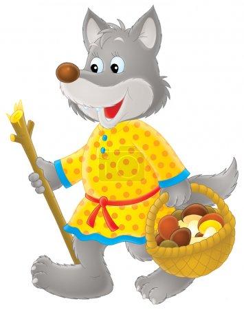 Photo pour Amical wolf en vêtements, en utilisant un bâton tout en transportant un panier de champignons, sur un fond blanc. - image libre de droit