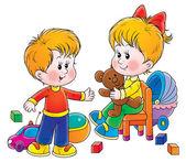 Piccolo fratello e sorella in una stanza del giocattolo