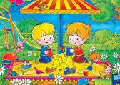 Chlapec a dívka hrající v karanténě