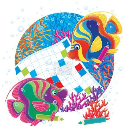 Photo pour Deux poissons-anges colorés travaillant sur un puzzle de mots sur un récif corallien, sur un fond blanc . - image libre de droit