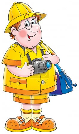 happy male tourist with a bag and camera