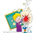 Little boy creating an explosion during a science ...