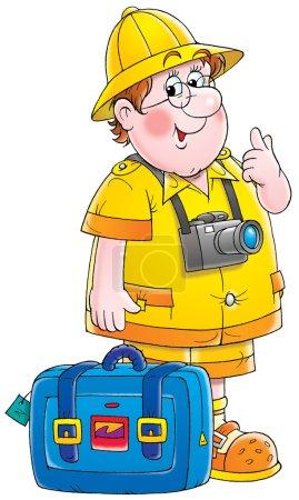 Friendly chubby male tourist wearing a camera