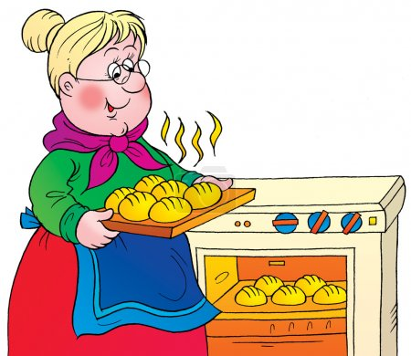 Sweet blond granny taking hot rolls out of an oven...