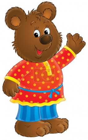 Photo for Friendly bear in clothes, waving and smiling, on a white background. - Royalty Free Image