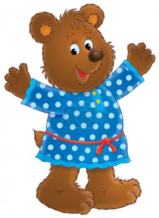 Photo for Happy bear in a blue polka dog dress, holding her arms up, on a white background. - Royalty Free Image
