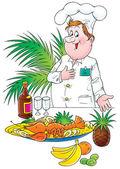 Hrdý samec šéfkuchař prezentující jeho strávníků