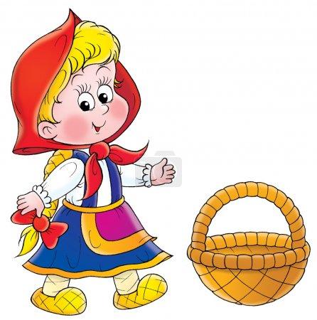 Photo pour Petite cagoule rouge portant sa cape, debout près d'un panier, sur un fond blanc . - image libre de droit