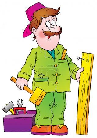 Friendly male handyman in green