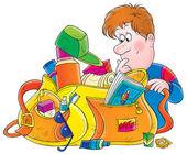 Mužské cestovatel hledání prostřednictvím jeho špinavá taška