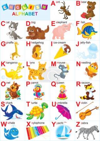 Photo pour Alphabet anglais pour les enfants avec des animaux drôles et jouets - image libre de droit