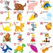 English alphabet for children with funny animals a...