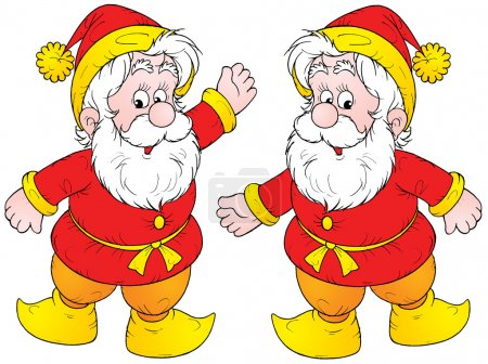 Photo for Two friendly gnomes or elves with white bears, dressed in red and yellow, on a white background. - Royalty Free Image