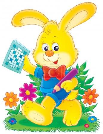 Photo pour Lapin jaune dans les vêtements, tenant un crayon et puzzle mot, marchant à travers les fleurs, sur un fond blanc . - image libre de droit