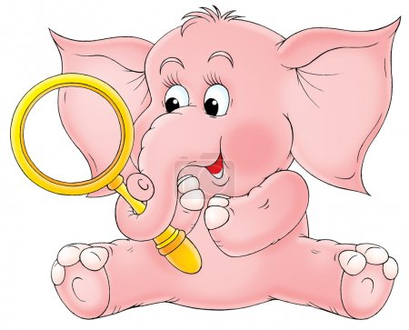 Cute pink elephant holding a magnifying glass