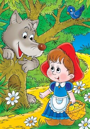 Photo pour Loup émergeant derrière un arbre sous un oiseau, observant une petite cagoule rouge alors qu'elle marche dans la forêt . - image libre de droit