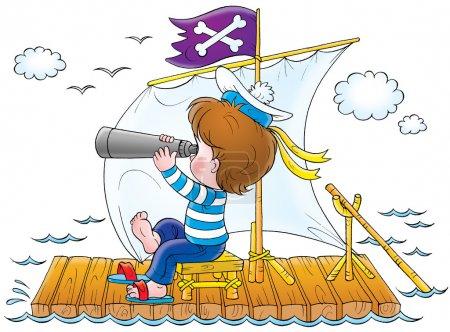 Foto de Chico en un traje de marinero, mirando a través de binoculares en una balsa, sobre un fondo blanco. - Imagen libre de derechos
