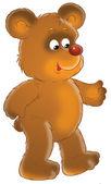 šťastný medvěd hnědý s červeným nosem