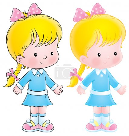 Photo for Shy blond caucasian girl in a blue dress, wearing a pink bow atop her braid, on a white background. - Royalty Free Image