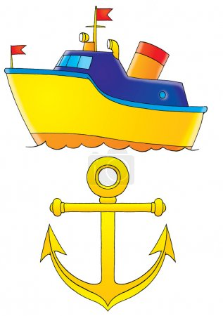 Blue and yellow boat and a yellow anchor