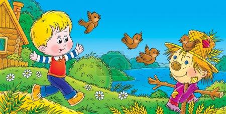 Photo pour Garçon courir et chasser les oiseaux près d'un épouvantail . - image libre de droit