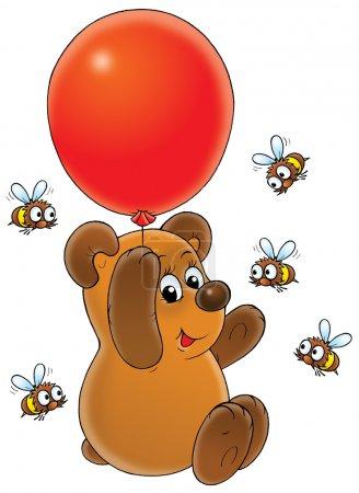 Photo pour Ours de bande dessinée volant sur ballon rouge - image libre de droit