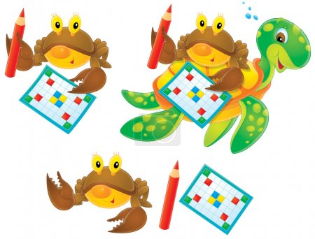 Brown crabs with word puzzles and pencils
