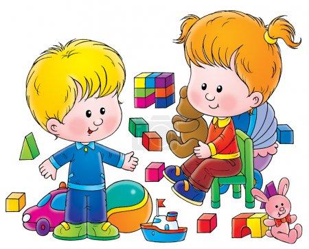 Photo pour Enfants mignons jouant avec des jouets - image libre de droit