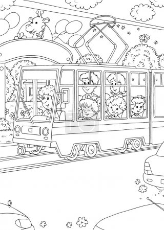 Coloring page outline of people using a public tra...