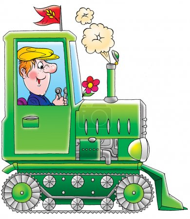 Happy farmer operating a green tractor with tracks