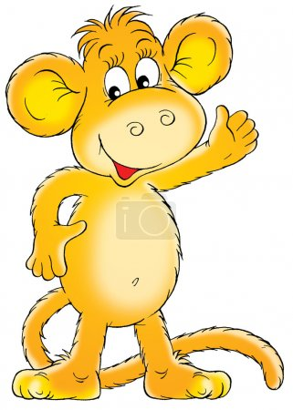 Happy orange monkey smiling and waving