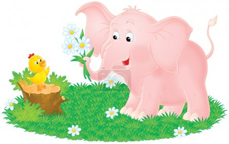 Pink elephant giving daisy flowers to a baby chick