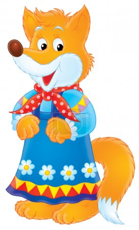 Female fox in a blue floral dress