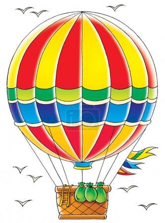 Photo pour Sacs et échelle suspendus au panier sur une montgolfière, oiseaux volant dans le ciel, sur fond blanc . - image libre de droit