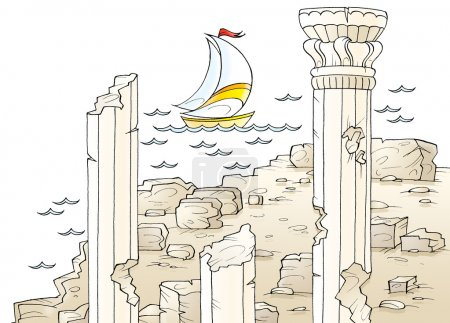Sailboat near ancient architectural ruins with columns