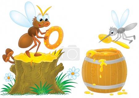 Photo pour Mouche tenant un beignet sur une souche tandis qu'un moustique ramasse du miel dans un tonneau, sur un fond blanc . - image libre de droit