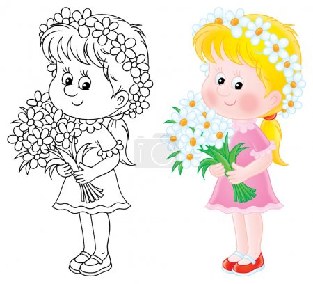 Photo for Isolated clipart illustration of a white-haired girl holding the bouquet - Royalty Free Image