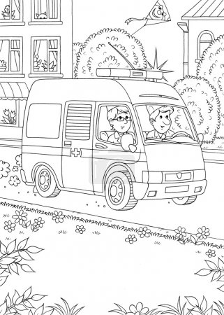 Coloring page outline of an ambulance
