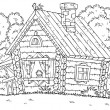 Coloring page outline of a chicken atop a log cabin, on a white background.
