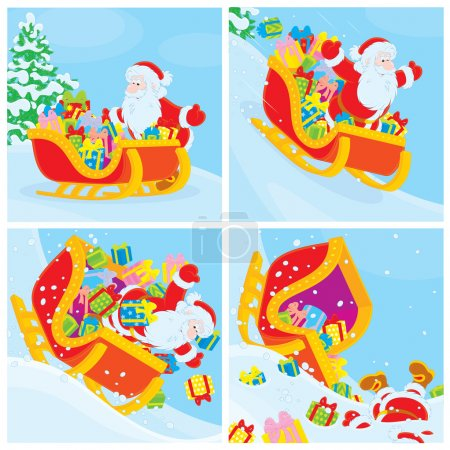Santa in his sleigh slides down the hill