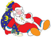 Santa Claus is heavily drunk He sleeps on the bag with Christmas gifts and an empty bottle of champagne lies near