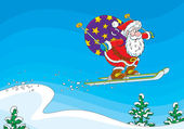 Santa Claus flying after a ski jump with his sackful of Christmas presents