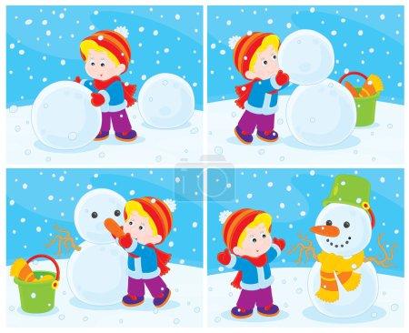 Illustration pour Petit garçon sculpte un bonhomme de neige drôle - image libre de droit