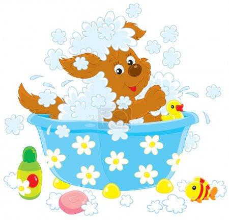 Cartoon dog having a bath