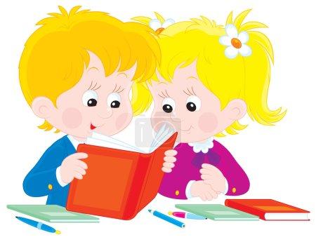 Schoolboy and schoolgirl
