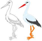 White stork color and black and white outline vector illustrations